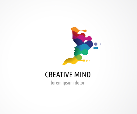 Brain, smart, Creative mind, learning and design icons. Man head, people colorful symbols Çizim