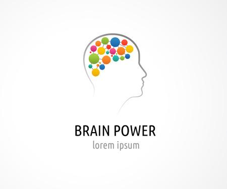 Mózgu, inteligentny, twórczy umysł, nauka i projektowania ikon. Głowa mężczyzny, osobami kolorowe symbole