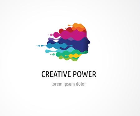 pensamiento creativo: Cerebro, elegante, mente creativa, de aprendizaje y de diseño de iconos. La cabeza del hombre, la gente símbolos de colores