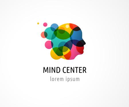 Cerveau, intelligent, esprit créatif, l'apprentissage et la conception des icônes. tête de l'homme, les gens symboles colorés