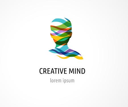 Cerebro, elegante, mente creativa, de aprendizaje y de diseño de iconos. La cabeza del hombre, la gente símbolos de colores