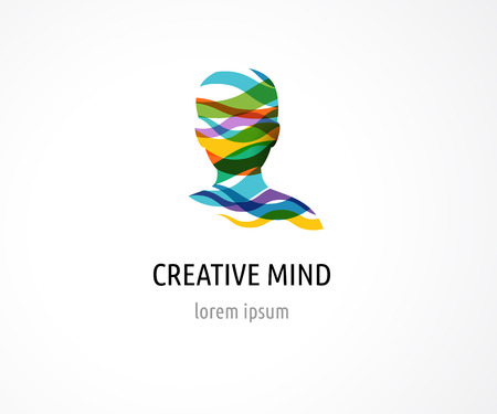 Brain, smart, Creative mind, learning and design icons. Man head, people colorful symbols Vettoriali