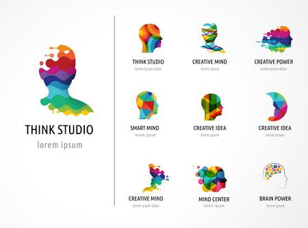 logo ordinateur: Cerveau, intelligent, esprit créatif, l'apprentissage et la conception des icônes. tête de l'homme, les gens symboles colorés Illustration