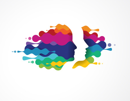 Brain, smart, Creative mind, learning and design icons. Man head, people colorful symbols 矢量图像