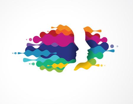 mente: Cerebro, elegante, mente creativa, de aprendizaje y de diseño de iconos. La cabeza del hombre, la gente símbolos de colores