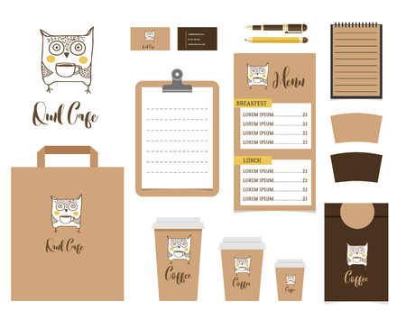 take away: Cafe Stationery, Coffee shop Branding Mock-up, vector menu