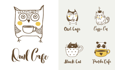 Cute owls, cat and panda drinking coffee. Hand drawn symbols, icons, vector illustrations