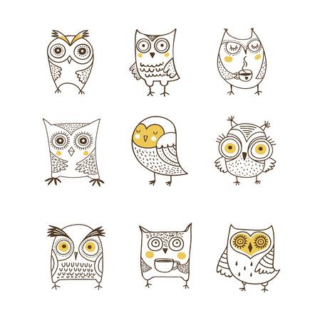 Cute, hand drawn owl vector watercolor illustrations