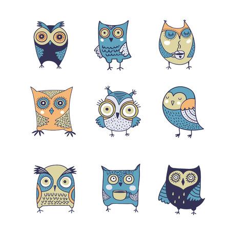 hand logo: Cute, hand drawn owl vector watercolor illustrations