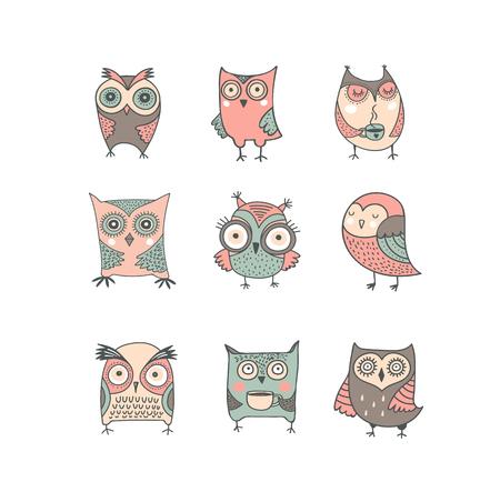 apparel: Cute, hand drawn owl vector watercolor illustrations