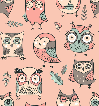 Cute, hand drawn owl vector seamless pattern. watercolor illustrations Иллюстрация