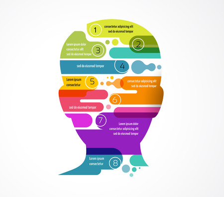 Brain, slimme, creatieve geest, leren, intelligentie en design iconen. Hoofd van de mens, kleurrijke infographics Stock Illustratie