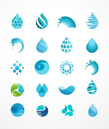 zestaw ikon wody, fala i upuść, symbole