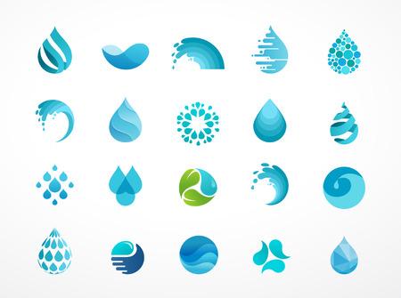 Zestaw wody, fal i upuść ikon, symboli