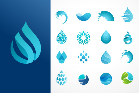 set of water, wave and drop icons, symbols 矢量图像