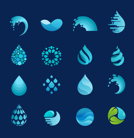 wellness environment: set of water, wave and drop icons, symbols Illustration