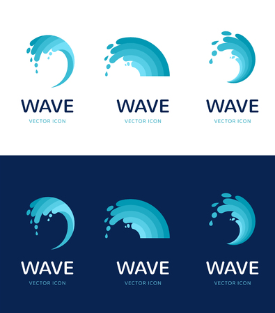 set of water, wave and drop icons, symbols Vettoriali