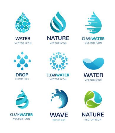 logotipo turismo: conjunto de agua, onda y soltar iconos, símbolos
