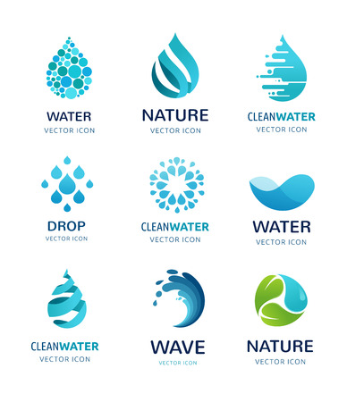 water logo: set of water, wave and drop icons, symbols Illustration