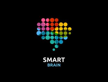 Cerebro, elegante, mente creativa, de aprendizaje y de diseño de iconos. La cabeza del hombre, la gente símbolo colorido