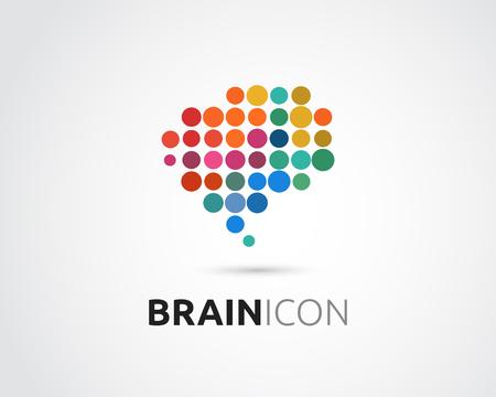 cerebro humano: Cerebro, elegante, mente creativa, de aprendizaje y de diseño de iconos. La cabeza del hombre, la gente símbolo colorido