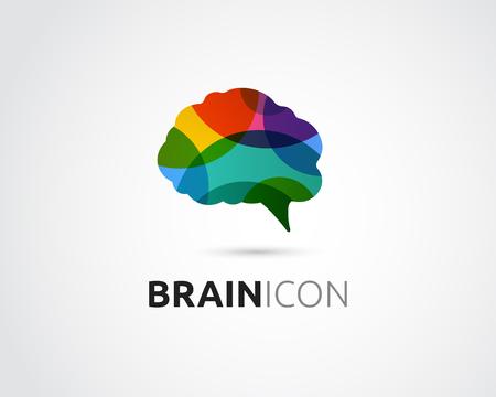 Brain, slimme, creatieve geest, leren en design iconen. Hoofd van de mens, mensen kleurrijk symbool