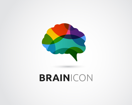 focus: Brain, smart, Creative mind, learning and design icons. Man head, people colorful symbol