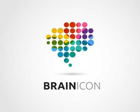 Brain, smart, Creative mind, learning and design icons. Man head, people colorful symbol