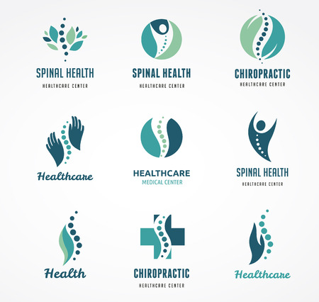 Chiropractic, massage, back pain and osteopathy icons Çizim