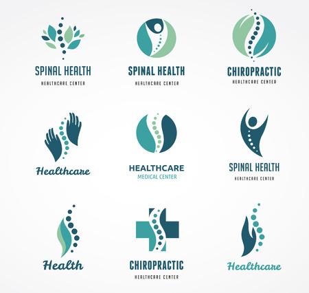logo medicina: Quiropráctica, masaje, dolor de espalda y osteopatía iconos Vectores