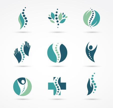 척추 교정 지압 요법, 마사지, 허리 통증 및 정골 아이콘
