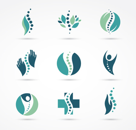 osteopathy: Chiropractic, massage, back pain and osteopathy icons Stock Photo