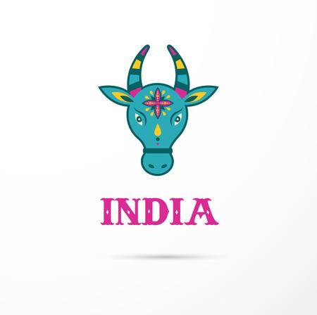 vaca: India - la vaca hindú icono india y la ilustración