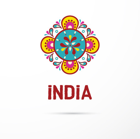 india food: India - Mandala, oriental pattern Indian icon and illustration Illustration