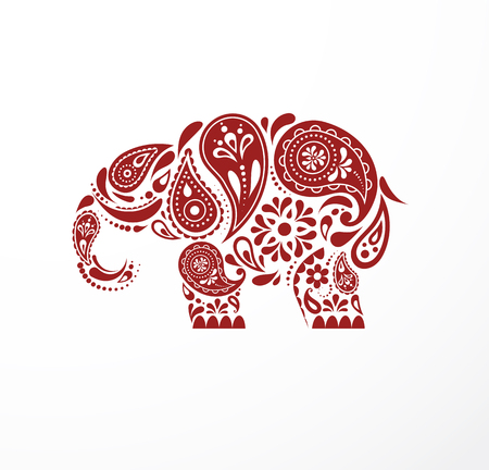 India - parsley patterned elephant, oriental Indian icon and illustration  イラスト・ベクター素材