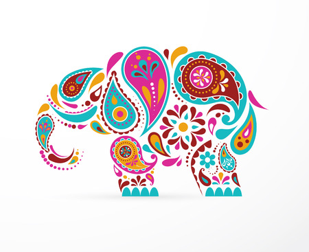 India - parsley patterned elephant, oriental Indian icon and illustration Çizim