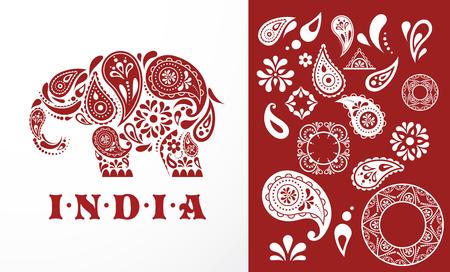 mendi: India - parsley patterned elephant, oriental Indian icon and illustration Illustration