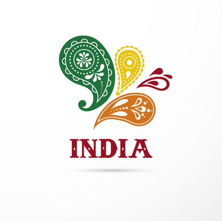 India - Mandala, oriental pattern Indian icon and illustration Иллюстрация