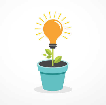 growing up: Growing idea - concept icon of education, light bulb, science, creative, technology icons