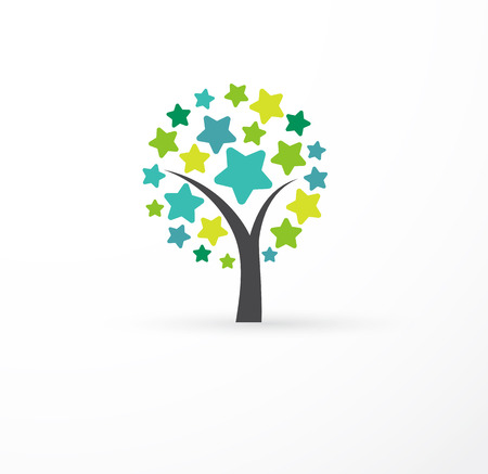 asian business: Tree with stars - education, learning, success icon