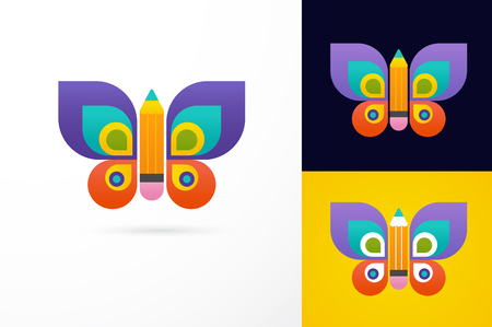 logo design: Education, learning icon - butterfly and pencil Illustration