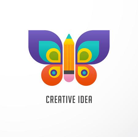 Istruzione, icona di apprendimento - farfalla e matita
