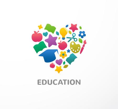 La educación, el aprendizaje, los estudiantes y el símbolo de la escuela, icono