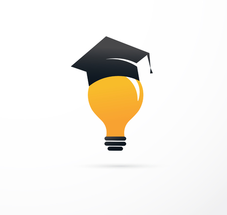 grow up: idea and education - concept icon light bulb ,and student hat