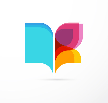 logo design: Open book and butterfly - colorful concept icon of education, creativity, learning