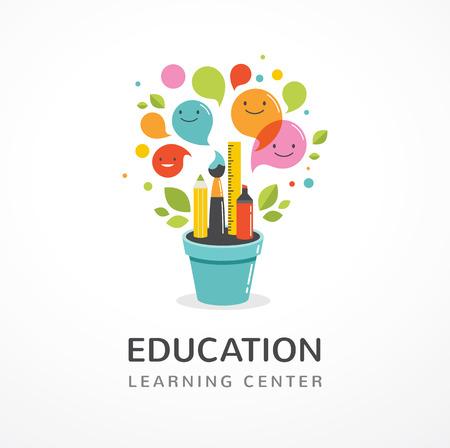 Growing idee - onderwijs, creativiteit en wetenschap concept illustratie, poster