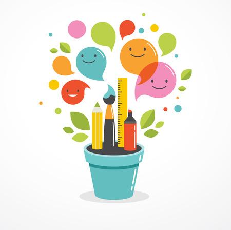 La creciente idea - la educación, la creatividad y la ciencia concepto ilustración, cartel