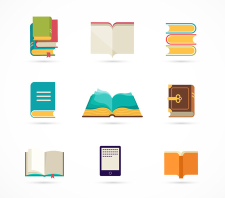 ereader: collection of books icons Illustration
