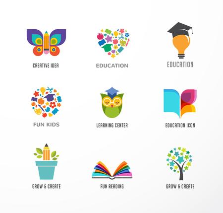 preescolar: Iconos de la educación, Conjunto de elementos. Libro, sombrero de estudiante, búho y símbolos de árbol