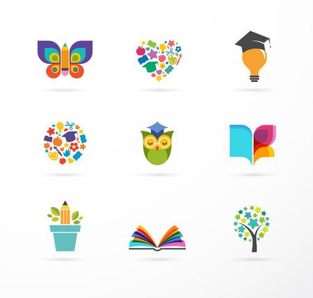 Iconos de la educación, Conjunto de elementos. Libro, sombrero de estudiante, búho y símbolos de árbol